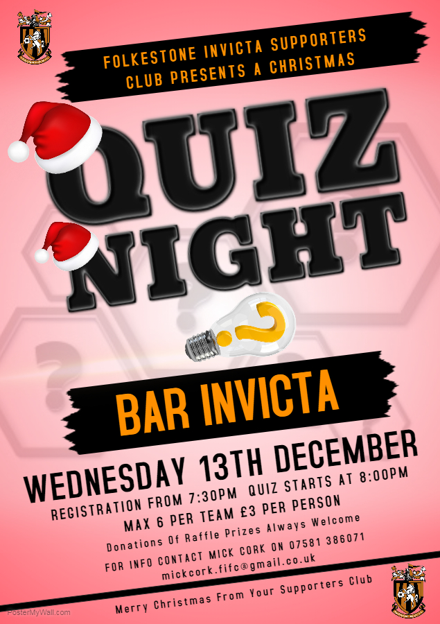 YES - IT'S THAT TIME ALREADY, SO WHY NOT COME AND JOIN IN THE BIG CHRISTMAS QUIZ AT BAR INVICTA?